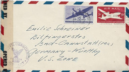 3597  Carta Entero Postal  Aérea  Schenectady 1946, N.Y. Censor Germany - Covers & Documents