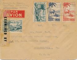 VALISE DIPLOMATIQUE WASHINGTON US CENSURE LETTRE AVION CASABLANCA PHILADELPHIA Censor American Consulate - WW II