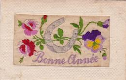 Fantaisie : Brodée : Bonne Année - Fleurs Et Fer à Cheval : - Embroidered