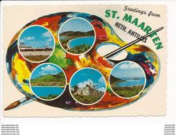 Carte ( Format 15 X 10 Cm ) St Maarten Neth Antilles  Palette De Peinture Peintre Couleurs - Other