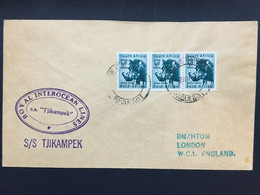SOUTH AFRICA 1959 Paquebot Cover With SS Tjikampek Cachet Sent To London - Covers & Documents
