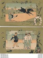 """LOT De """" 2 """" Chromo  Humoristique équitation / Militaire  (recto Verso ) - Non Classés"""