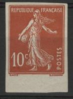 N° 138g NON DENTELE COTE 25 € 10ct Rouge Type Semeuse Camée Neuf * (MH) Avec Un Bord De Feuille. TB - 1906-38 Semeuse Con Cameo