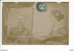 Carte Photo De Famille Surréaliste / Montage Avec Femme Peintre En Style Art Nouveau ( Recto Verso ) - Otros