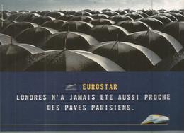 F48/ CARTE CPM Publicitaire PUB Advertising Card Cart' Com EUROSTAR Train PARAPLUIE LONDRES - Publicidad