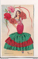 Carte Brodée ANDALUCIA N°77 Femme Espagnole Flamenco Illustrateur ELSI GUMIER  Ripoll Espana Espagne ( Format C.P.A. ) - Embroidered
