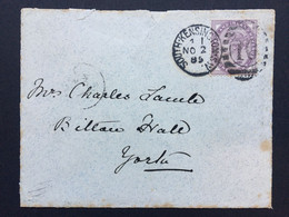 GB Victoria Cover 1885 South Kensington Duplex To York Tied With 1d Lilac - Covers & Documents