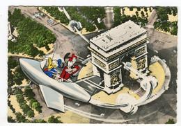 Cpsm - Paris Arc De Triomphe De L'étoile - Disney Donald Dingo Avion - Altri