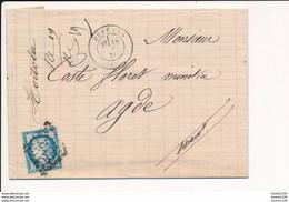 Ancien Courrier Année 1874 Pour COSTE FLORET Minotier à AGDE 34 Envoyée De HORTOLA Représentant De Commerce à PEZENAS - 1871-1875 Ceres