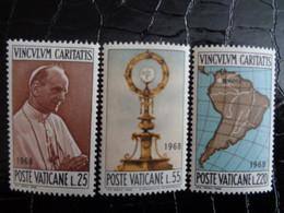 VATICAN 1968 UNIFICATO N° 461 à 463 ** - VIAGGIO DI PAOLO VI A BOGOTA - Ongebruikt