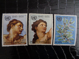 VATICAN 1970 UNIFICATO N° 492 à 494 ** - 25e ANNIV. DELL' ONU - Ongebruikt
