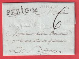 MARQUE PERIGUEUX DORDOGNE LN°2 1789 POUR BORDEAUX INDICE12 - 1701-1800: Precursors XVIII