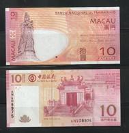 Macau Macao 2013 BNU & BOC 10P Banknotes. UNC - Macau