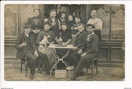 ♥ CARTE PHOTO à Identifier Devanture De Café Société Des éponges Alcool Liqueur SUC SIMON / Chien / Paris ? Peut être - Da Identificare