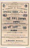 Tannerie Corroierie LEGER à LYON Courroies CAPDEVILA RAMON à AVIGNON Corset CAMUT TARON à TROYES Jousse à LE MANS - Pubblicitari