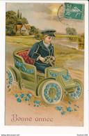 Carte  Gaufrée / Relief De Bonne Année ( Enfant / Voiture / Tacot / Myosotis ) - New Year