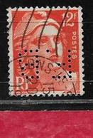 X9  Perfin France  Perfore F.B 16  Sur Gandon N° 885 - Perfins