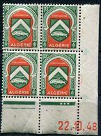 ALGERIE N°254 ** EN BLOC DE 4 DATE DU 22-10-48 - Unused Stamps