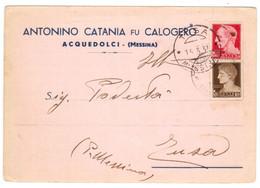 WQ293   Regno 1937 Cartolina Pubblicitaria ACQUEDOLCI Per TUSA (Messina) - Imperiale 20c E 10c - Poststempel