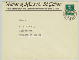 Schweiz, Tell Brustbild, Brief St.Gallen - Bruggen, Automobil / Automobile / Automotive - Briefe U. Dokumente