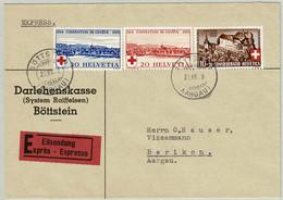 Schweiz 1939, Sondermarken Rotes Kreuz Und Pro Patria Schloss Laupen, Express-Brief Böttstein - Berikon, Red Cross - Covers & Documents