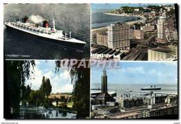 """CPM Le Havre Le France Porte Oceane Et Cap De La Heve Square Saint Joseph Entree Du Port Et L&#39egl"""" - Zonder Classificatie"""