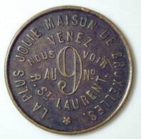 Jeton De Maison Close - La Plus Jolie Maison De Bruxelles - Au N°9 Rue St Laurent - Case Chiuse