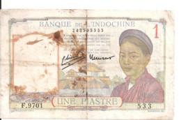 INDOCHINE 1 PIASTRE 1949 VG+ P 54 - Indochina