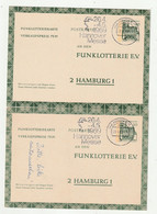 """Bundesrepublik Deutschland - 1969 - 2 Funklotterie-Postkarten Je Stempel """"Hannover-Messe"""" (2367) - Postcards - Used"""