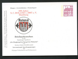 WEIGHTLIFTING Germany STO Postal Card PP106 B2/019-I Coat Of Arms Hamburg 1987 - Halterofilia