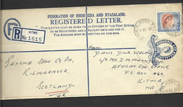 Rhodesia & Nyasaland 1955 Uprated QEII 4d Blue Registered Envelope Used Kitwe To Scotland - Rhodesien & Nyasaland (1954-1963)