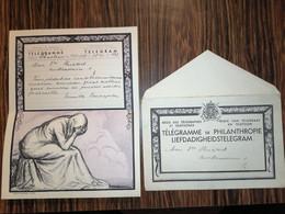 Télégramme De Philanthropie Déposé à Charleroi, Reçu à Braine L'Alleud 1938 - Fogli Telegrafici