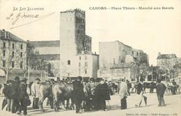 """CPA FRANCE 46 """" Cahors, Place Thiers, Marché Aux Boeufs"""". - Cahors"""