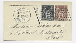 SAGE 4C BRUN +1C MIGNONNETTE  MECANIQUE DRAPEAU RF  PARIS DEPART 14 MARS 00 - Mechanical Postmarks (Advertisement)