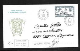 "TAAF Lettre En-tête Blason Circulée Le 12/04/1980 N°80 Bateau Commandant Bourdais Cachet""ALFRED- FAURE-CROZET-TAAF-"" TB - Covers & Documents"