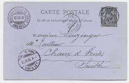 ENTIER SAGE 10C CP PARIS PARIS LA BOURSE 1885 POUR HELVETIA SUISSE + AMBULANT MORTEAU CHAUX DE FONDS AMB N°23 - 1877-1920: Semi Modern Period