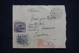 SARRE - Devant D'enveloppe En Recommandé De Einod Pour La France En 1921, Affranchissement Surchargés - L 96228 - Storia Postale