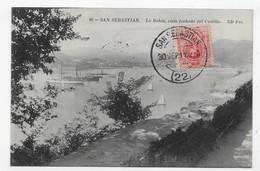 (RECTO / VERSO) SAN SEBASTIAN EN 1911 - N° 90 - LA BAHIA - VISTA FACHADA DEL CASTILO - BEAU TIMBRE ET CACHET - CPA - Guipúzcoa (San Sebastián)