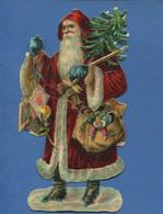 Joli Chromo Decoupis PERE NOEL JOUETS Moufles Sacoche Sapin 14,5 Cm - Di Natale