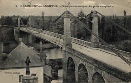N°10368 Z -cpa Beaumont Sur Sarthe -vue Panoramique Du Pont Suspendu- - Beaumont Sur Sarthe