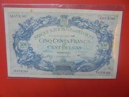 BELGIQUE 500 Francs 1942 Circuler (B.22) - 500 Francs-100 Belgas