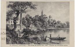 44   Orvault  - Vue   Prise De L'etang Vers 1840 -  Clocher De L'ancienne Eglise - Orvault