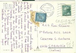 MICHELANGIOLESCA £.20,SU C.P.-1968-TARIFFA RIDOTTA MILITARE-TASSATA £.10-NON DOVUTA-POSTE MILANO-LARGO S.BABILA,COLORI,R - 1961-70: Marcophilia