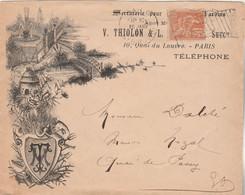 Superbe Lettre Illustrée Entête THIOLON Yvert 117 Mouchon Cachet Flamme Drapeau RF PARIS Distribution  Pour EV - Maschinenstempel (Werbestempel)