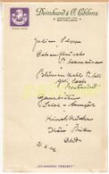 """Speisekarte/Menu """"Deinhard Cabinet"""" Sektkellerei, 1906 - Menú"""