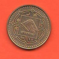 Nepal 1 Rupia Rupee Everest Mount  Brass Coin - Nepal