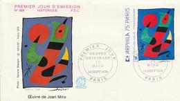 FDC 1974 PEINTURE DE MIRO - 1970-1979