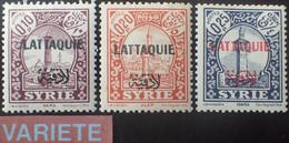 R2452/1009 - 1933 - COLONIES FR. - LATTAQUIE - SERIE COMPLETE - N°20 à 22 NEUFS* VARIETE ➤➤ Surcharge RECTO VERSO (N°20) - Unused Stamps