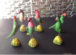 6 Oiseaux Miniatures En Terre Cuite Peinte - Hauteur 4 Cm - Other