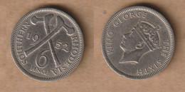 RODESIA 6 Pence - 1952 Copper-nickel • 2.8 G • ⌀ 19.3 Mm KM# 21, Schön# 23 - Rhodesia